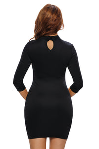 Black Grommet Lace Up Front Sleeved Bodycon Dress