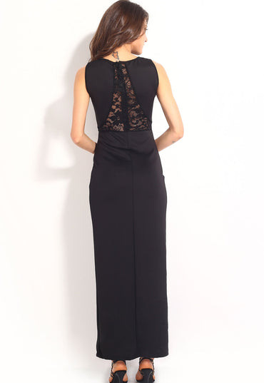 Black Lace Accent Double Slits Sexy Evening Dress