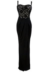 Black Lace Bustier Top Split Maxi Party Dress