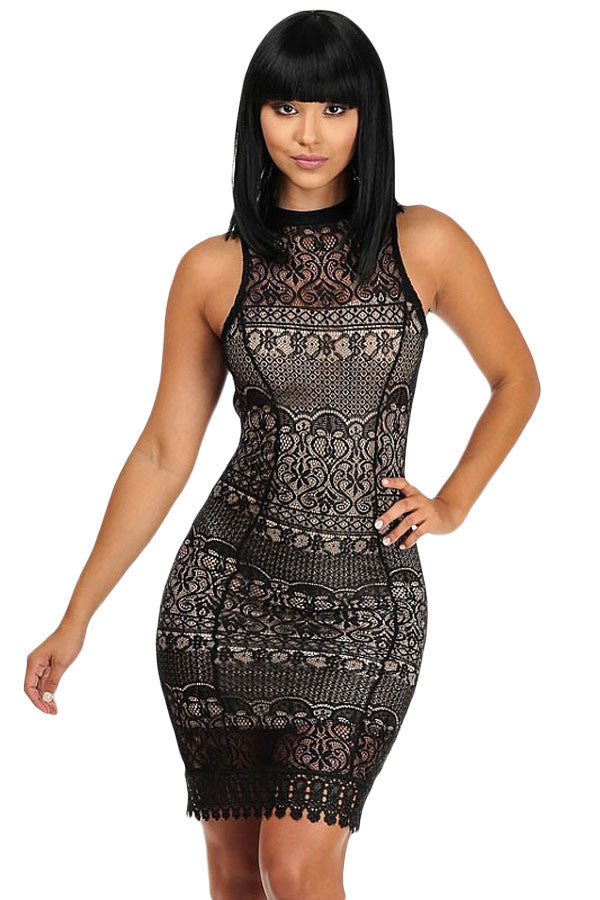 Black Lace Crochet Trim Open Back Club Dress