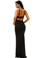 Black Lace Detail Long Prom Party Maxi Dress