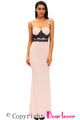 Black Lace Detail Pink Long Prom Party Maxi Dress
