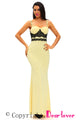 Black Lace Detail Yellow Long Prom Party Maxi Dress