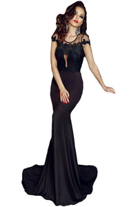 Black Lace Embroidered Floor Length Party Gown