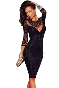 Black Lace Embroidered Necklace Evening Dress