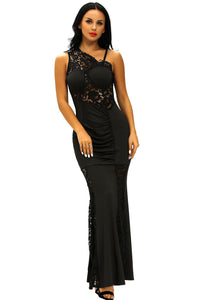 Black Lace Insert One Shoulder Evening Gown