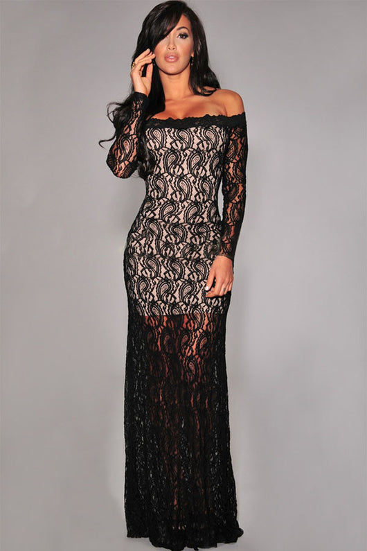 Black Lace Nude Illusion Off-shoulder Evening Dress
