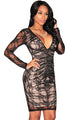 Black Lace Nude Illusion Ruched Long Sleeves Dress