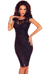 Black Lace Open Back Chained Party Dress