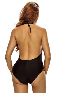 Black Lace Up Detail One Piece Swimsuit