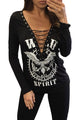 Black Lace Up V Neck Free Eagle Shirt