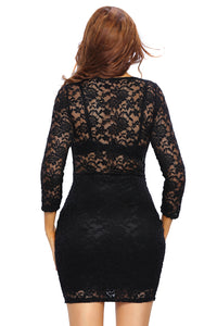 Black Lace V-neck Mini Club Dress