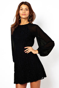 Black Lace Vintage Dress with Blouson Sleeves