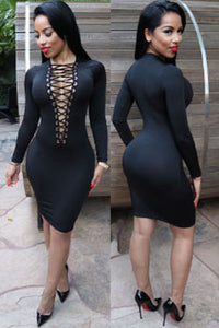 Black Lace-up V Neck Long Sleeve Bodycon Dress