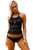 Black Laser Cutting Crochet Tankini Swimsuit
