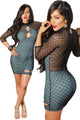 Black Lined High Neck Patterned Bodycon Dress with Keyholes