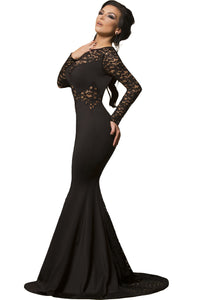 Black Long Lace Sleeve Mermaid Prom Dress