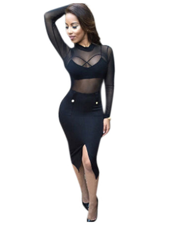 Black Long Sleeve Club Dress with Bralette Top