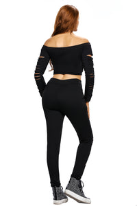 Black Long Sleeve Crop Top Ribbed Cutout Pant Set