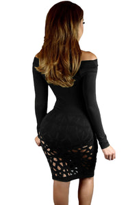 Black Long Sleeve Off Shoulder Hollow Out Bodysuit Dress