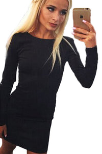 Black Long Sleeve Zip Open Back Bodycon Dress