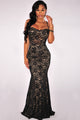 Black Mermaid Lace Maxi Evening Gown