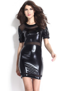 Black Mesh Short Sleeves Leather Dress