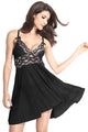 Black Mesh and Metallic Lace Babydoll