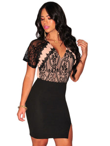 Black Nude Lace Accent Key Hole Back Dress