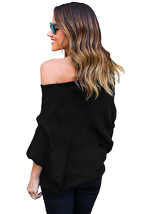 Black Off Shoulder Bat Long Sleeves Loose Fit Sweater