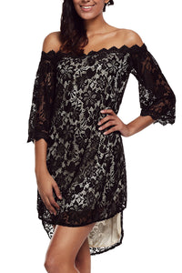 Sexy Black Off The Shoulder 3/4 Sleeve Floral Lace Dress