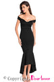 Black Off-shoulder Mermaid Jersey Evening Dress