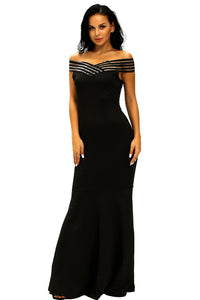 Black Off the Shoulder Sheer Stripe Fishtail Evening Gown