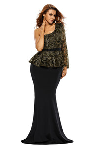 Black One Shoulder Gold Floral Lace Peplum Top Long Skirt Formal Dress