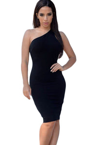 Black One Shoulder Strappy Back Bodycon Party Dress