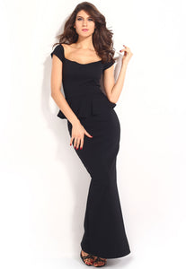 Black Peplum Maxi Dress With Drop shoulder