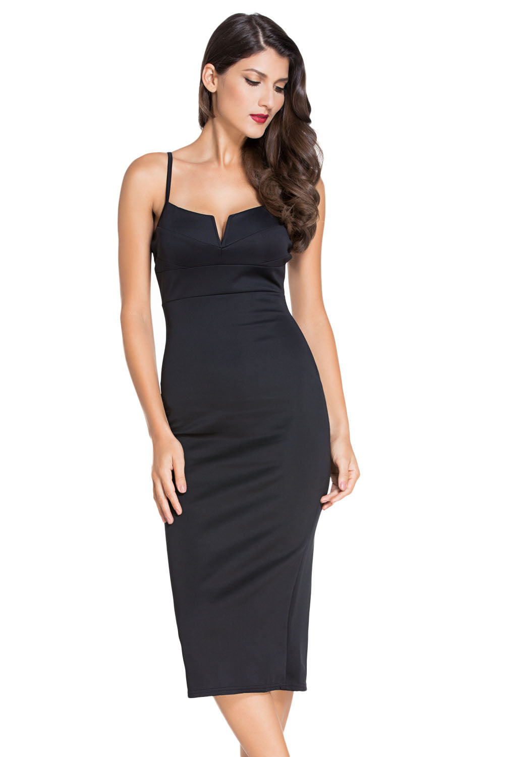 a91ec64d7bed3 Sexy Black Plunging V Neck Midi Dress – SEXY AFFORDABLE CLOTHING