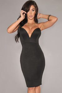 Black Plunging V Neck Strapless Bodycon Party Dress