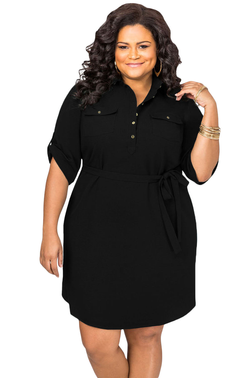 Black Plus Size Belted Textured Shirt Dress
