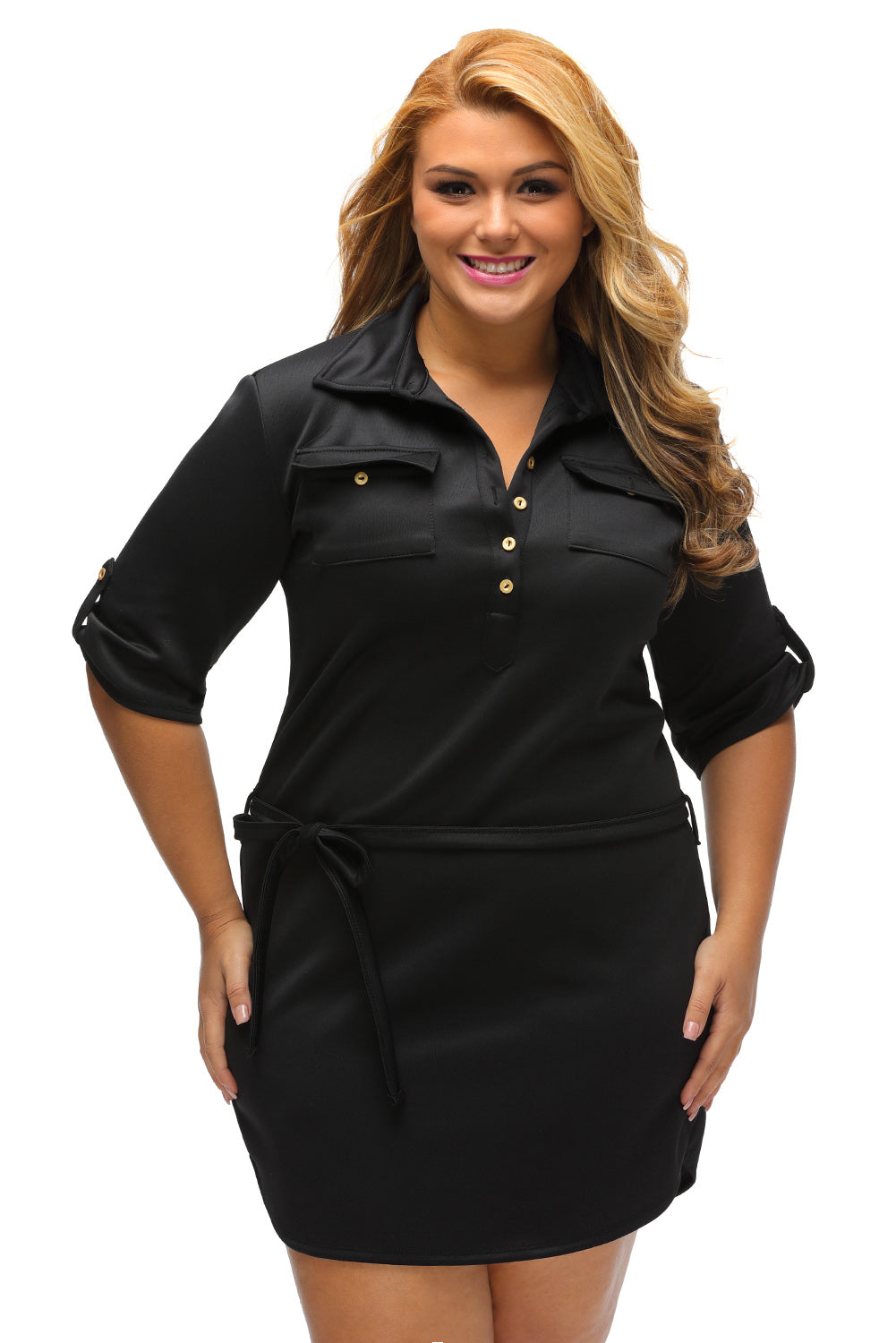 5f187baa062ec Sexy Black Plus Size Belted Textured Shirt Dress – SEXY AFFORDABLE ...