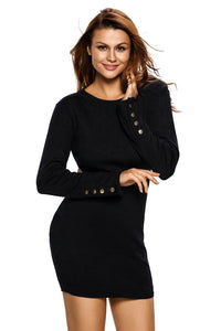 Black Ribbed Knit Cut out Back Bodycon Dress