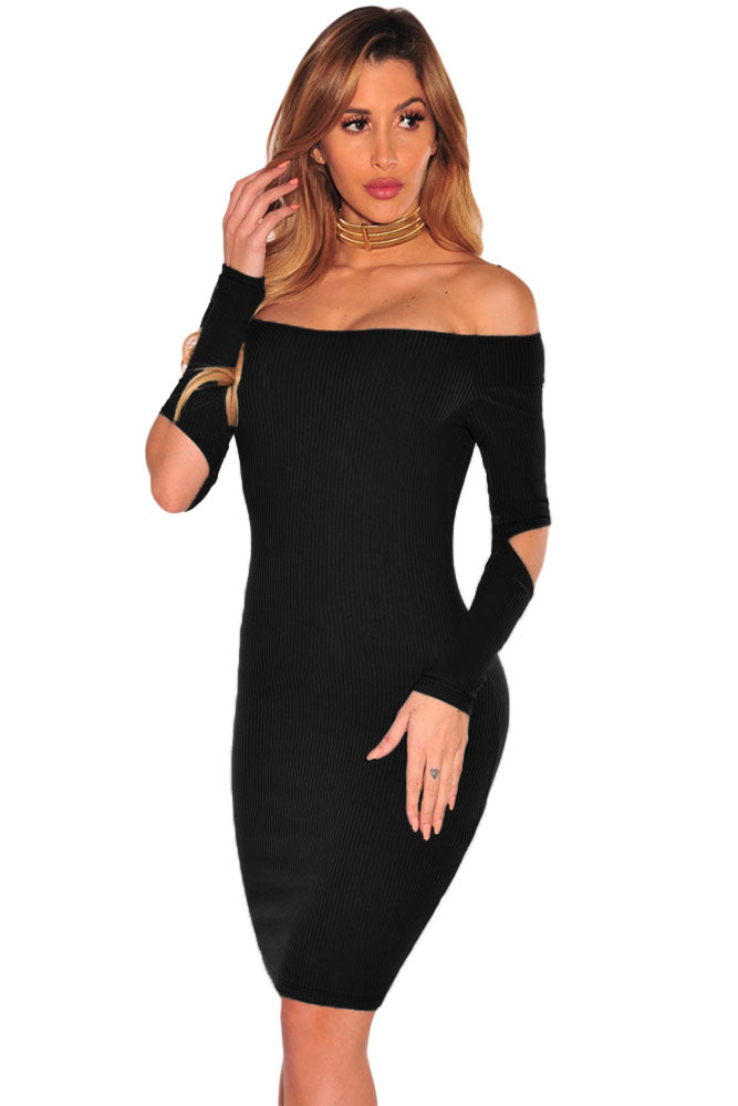 a0bedac6159c Sexy Black Ribbed Knit Off Shoulder Cut Out Long Sleeves Dress ...