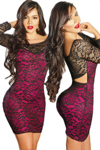 Black Rosy Lace Overlay Cut outs Lace Bodycon Dress