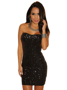 Black Sequined Strapless Mini Dress