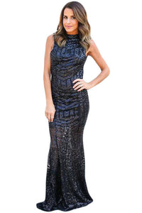 Black Sequins Keyhole Back Party Gown