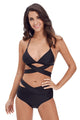 Black Sexy Cut Out 2pcs Swimwear