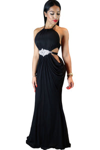 Black Sexy Cutout Draped Halter Gown with Crystal Detail
