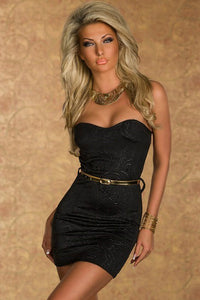 Black Sexy Jacquard Tube Cocktail Party Mini Vintage Dress