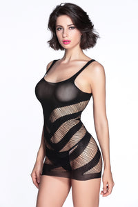 Black Sexy Striped Cutout Mini Chemise Dress