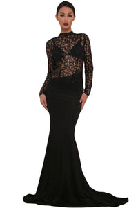 Black Sheer Glitter Mock Neck Cut Out Back Maxi Evening Gown